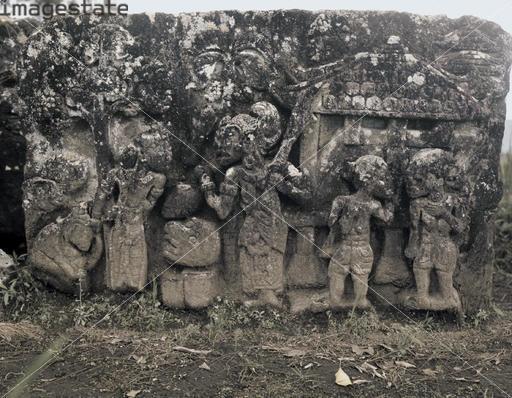 Relief, Hindu temple of Candi Sukuh, Majapahit Kingdom, central Java