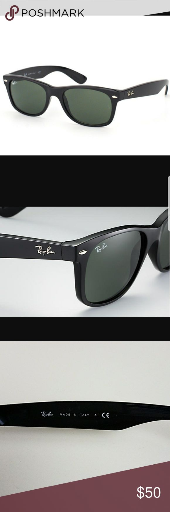 Ray-Ban New Wayfarer Classic Authentic Sunglasses NEW WAYFARER CLASSIC Model code:RB2132 901 52-18  Go back to where it all began with Ray-BanNew Wayfarer Classicsunglasses. Using the same iconic shape as the classicWayfarer, these sunglasses offer an updated version that includes a smaller frame and slightly softer eye shape.  Classic black Frame Green Classic G-15 Lenses  Shape: Square Size Lens-bridge: 52-18  Temple Length: 145  New with case and cleaning cloth. Ray-Ban Accessories…