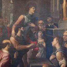 Bergamo - Chiesa del S. Sepolcro del Monastero di Astino - Pietro Sorri - La conversione di San Giovanni Gualberto (dettaglio) - 1601