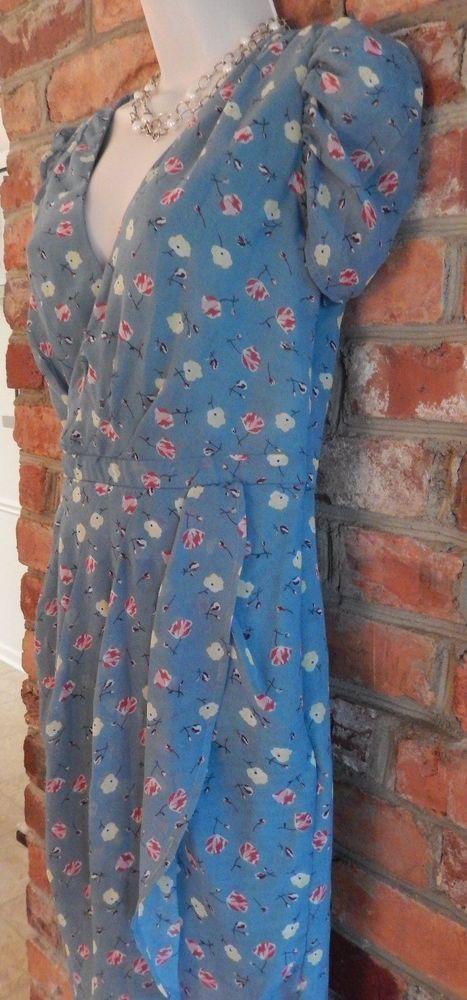 "Modcloth Sunny Girl Blue Floral Retro 'Poppie"" Dress size Small  | eBay"