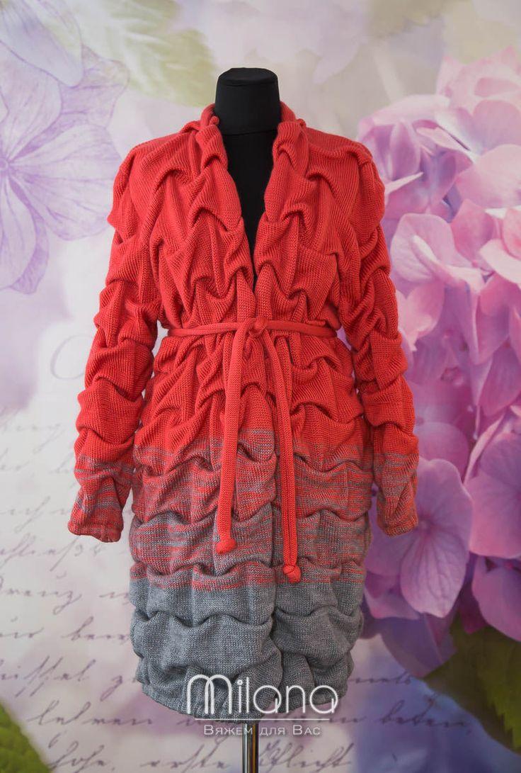Купить Вязаный кардиган-пальто - комбинированный, в полоску, кардиган, кардиган вязаный, кардиган женский