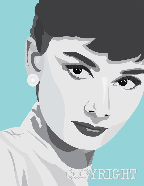 26 best celebrity art images on pinterest audrey hepburn for Black and white celebrity prints