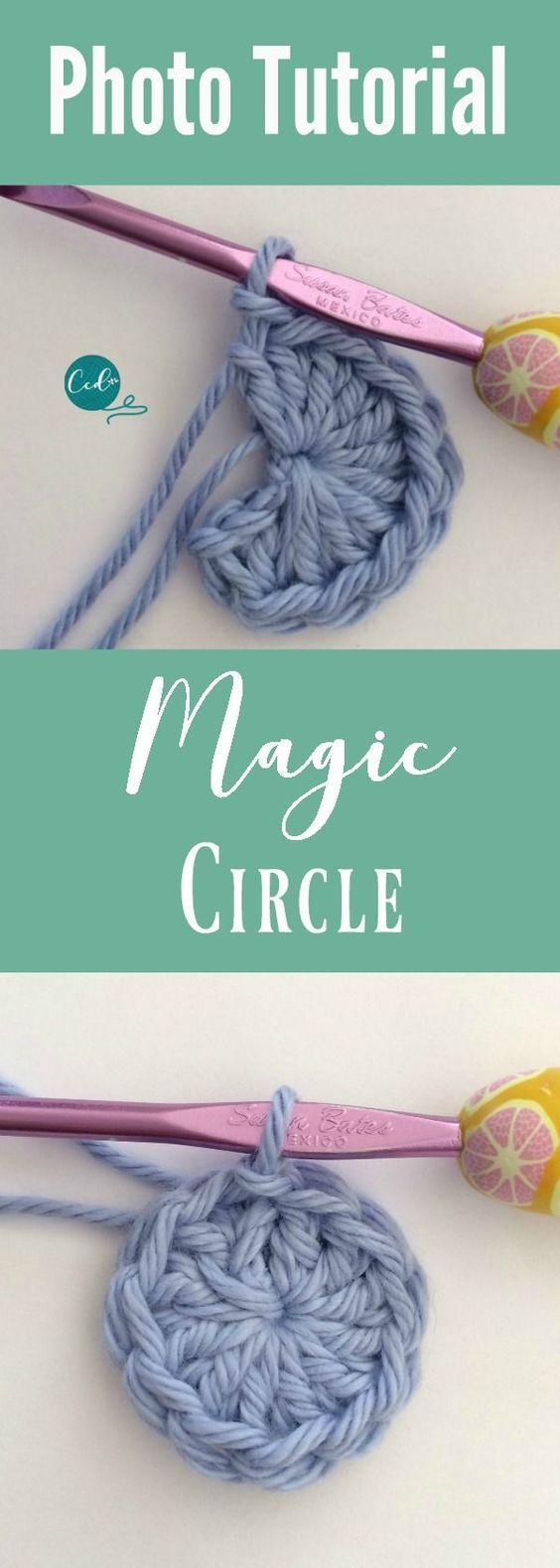 Tutorial de foto de círculo mágico de crochê