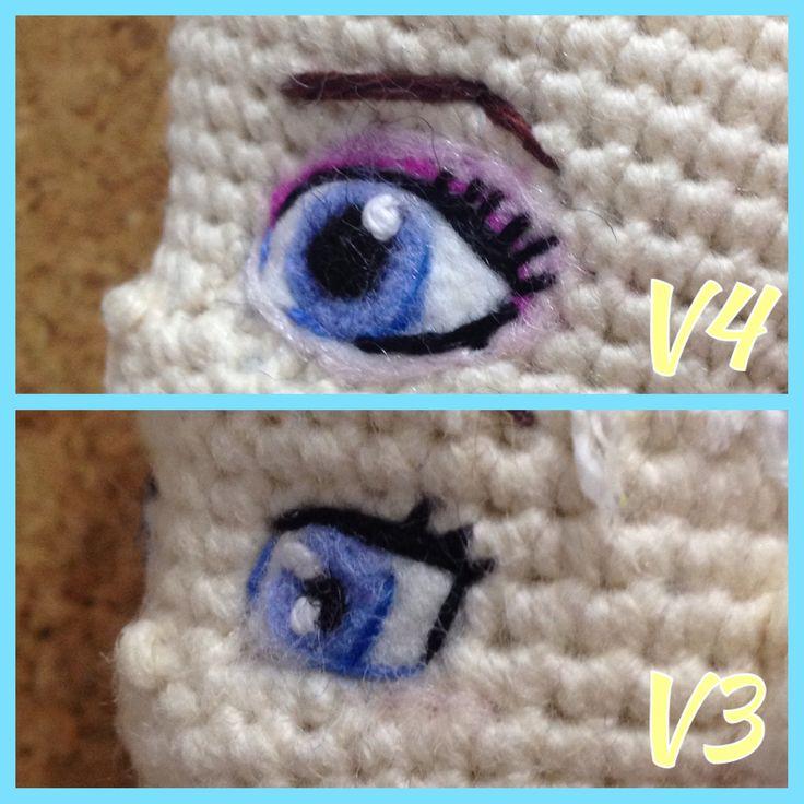 My Frozen Elsa eyes in needle felting for crocheted doll amigurumi