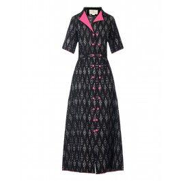 Black and Pink Ikat Dress