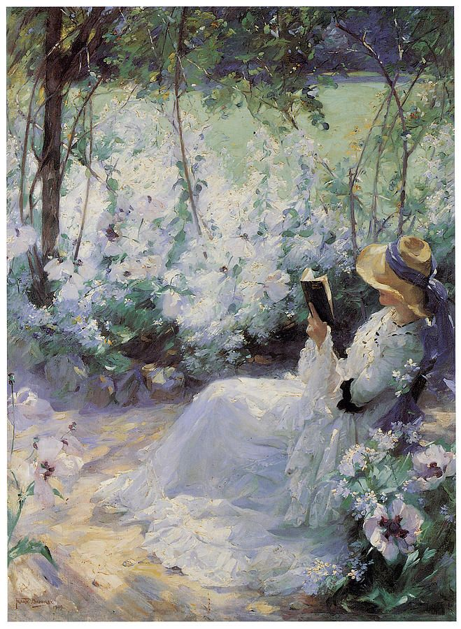 Delicious Solitude (1909). Frank Bramley (British, 1857–1915). Oil on canvas.  Here, a lady absorbed in reading is likely the painter's wife Katherine. By this stage the painter had completely abandoned the systematic square brushwork of his youth and his handling of the work was more painterly. It may have been a companion piece for When the blue evening slowly falls.