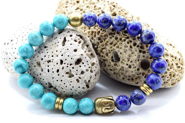 Buddha Bracelet, with Lapis Lazuli and Turquoise Aqua Marine beads.