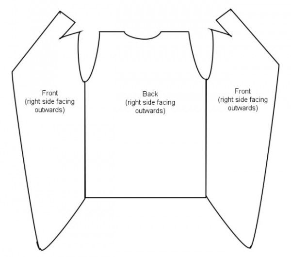 How to make a wrap cardigan. Slit part becomes back collar