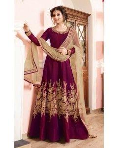 Plum Pink Floor Length Silk Anarkali Suit