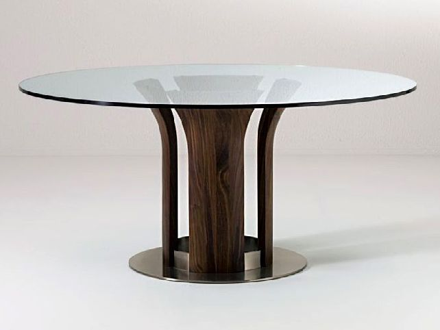 Round Glass Top Dining Table With Wood Base