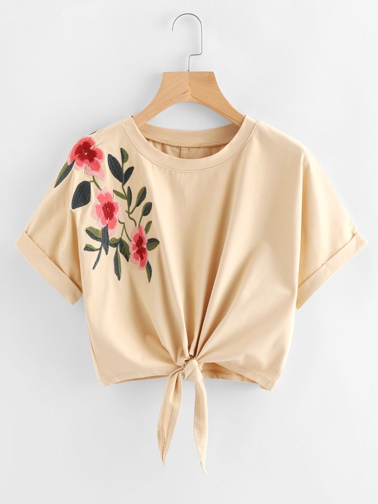 Knot Front Cuffed Embroidered Tee - &17.80 @ Romewe    http://www.romwe.com/Knot-Front-Cuffed-Embroidered-Tee-p-249952-cat-669.html