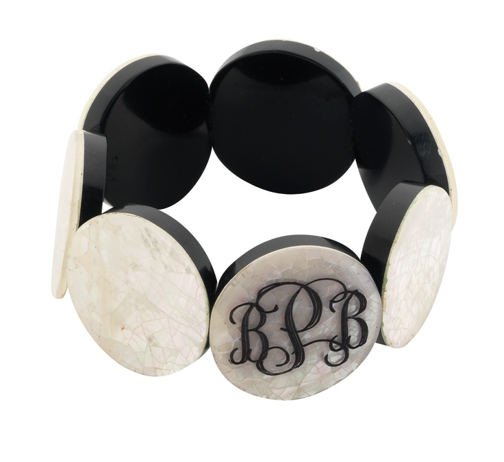 Adoring this Monogram Mother of Pearl Stretch Bracelet from Ten23 Designs!  Perfect bridesmaids gift! $20