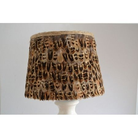 Large hen pheasant feather lampshade - £55