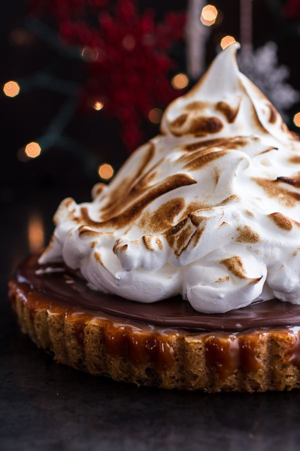 Chocolate Chip Cookie Bottomed Salted Rum Caramel Tart with Toasted Marshmallow via Half Baked Harvest #recipe