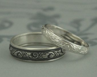 Silver Wedding Band Set–His and Hers Bands–Straight and Narrow Sterling Silver Flat Edge Wedding Ring Set Custom Made in YOUR Sizes
