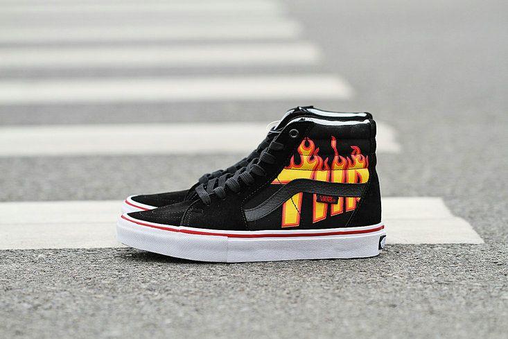 Vans Sk8 Hi Pro X Hrasher Black Flame Fire High Top Vans For Sale Vans High Top Vans Vans Socks Sneakers