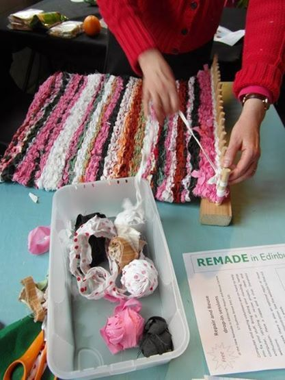 Learn how to make your own rag-rug with Remade in Edinburgh! This technique is called peg-loom weaving.