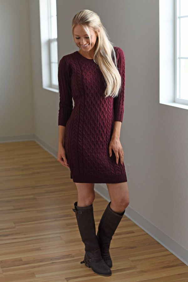 Burgundy Sweater Dress – The Pulse Boutique
