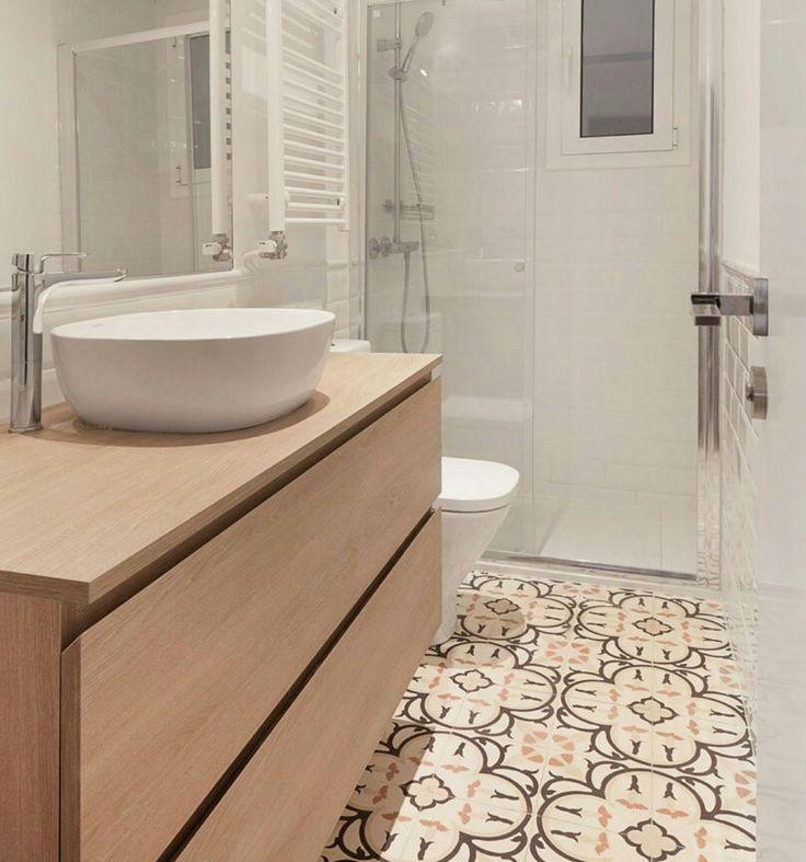 suelo mueble lavabo redondo con espacio en encimera