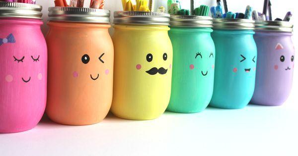 Kawaii Inspired DIY Mason Jar Pen, Marker and Pencil Holders | Pencil Holders, Mason Jars and Jars