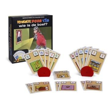 Wie is de boef? Een spannend blufspel met kaarten van Maan Roos Vis. Bijzonder geschikt voor kinderen met dyslexie.