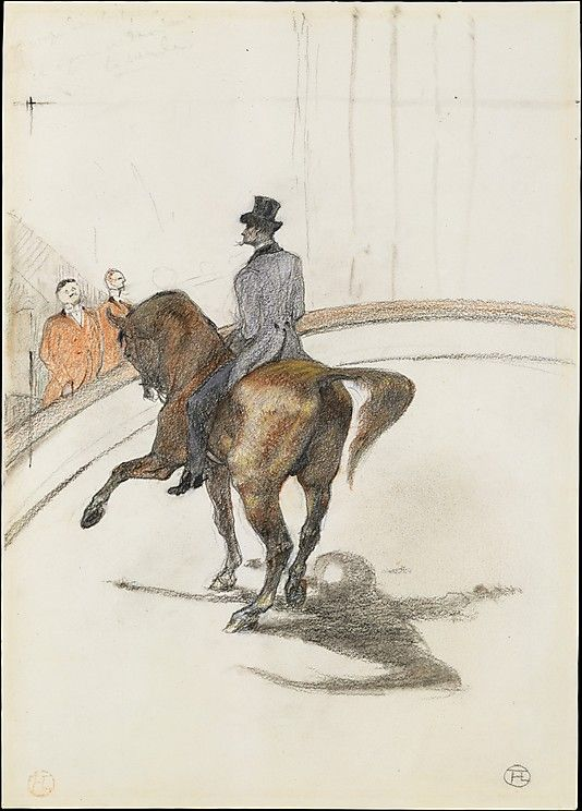 Henri de Toulouse-Lautrec (French, 1864–1901). At the Circus: The Spanish Walk (Au Cirque: Le Pas espagnol), 1899. The Metropolitan Museum of Art, New York. Robert Lehman Collection, 1975 (1975.1.731)   The grand master of urban entertainments, Henri de Toulouse-Lautrec made many paintings and drawings on the circus theme in the late 1880s and 1890s, just as his popularity as a commercial artist soared. #horses