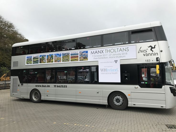 The latest eye-catching advert on the Bus Vannin Fleet which is promoting Manx National Heritage's exhibition, Manx Tholtans, supported by WH Ireland.