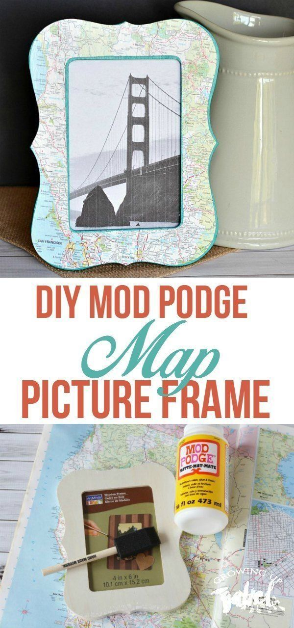 See your vacation photos every day with a DIY Map Picture Frame made with a map, Mod Podge, and a wood craft frame. This easy to make craft is great for kids, too!