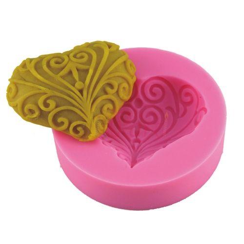 Motifli Kalp Sabun ve Kokulu Taş Silikon Kalıbı - 10.50 ₺
