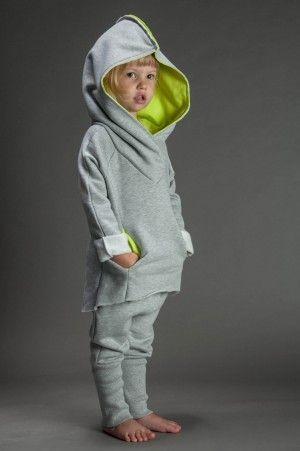 Bluza bokserska dziecięca szara z limonką
