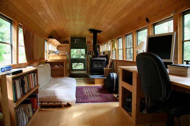 An old school bus turned into a comfortable, tiny moving home.