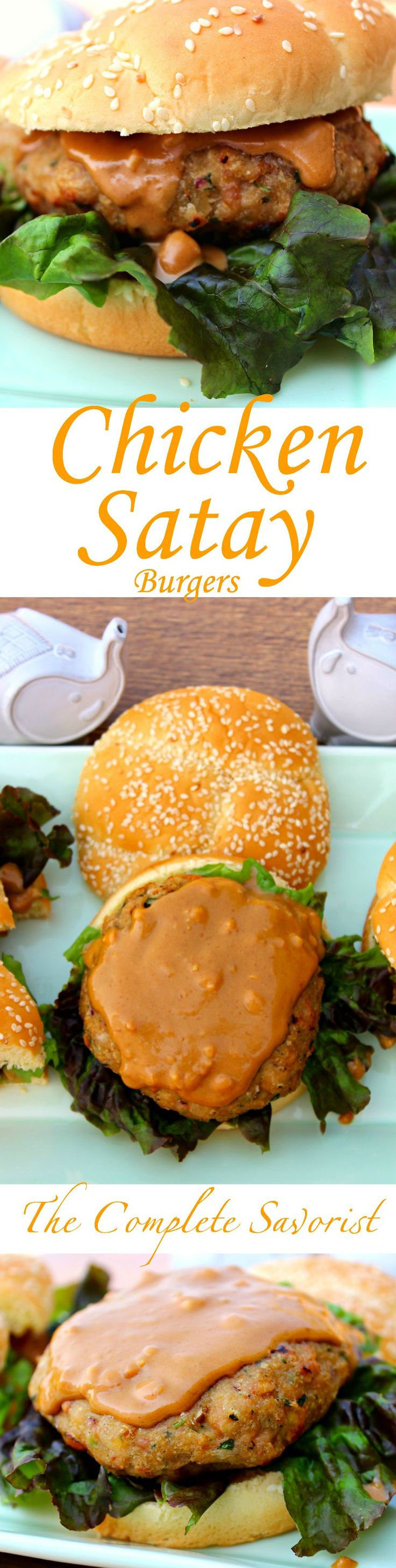 Chicken Satay Burger ~ Freshly ground chicken to seasoned like the classic Asian chicken satay topped with peanut sauce ~ The Complete Savorist