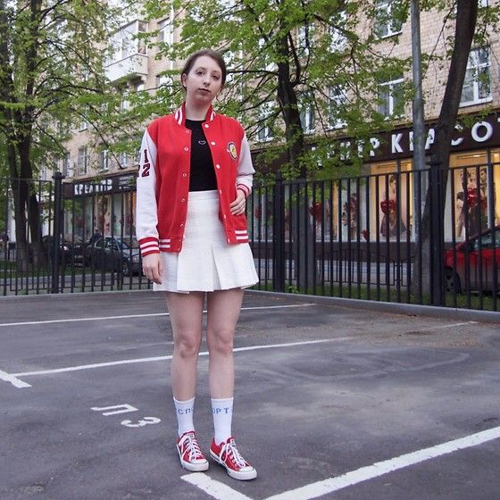 Get this look: http://lb.nu/look/8723305  More looks by Ivana Braer: http://lb.nu/user/6049785-Ivana-B  Items in this look:  London Bomber, Tochini Shirt, Zara Skirt, Gosha Rubchinskiy  Socks, Converse Sneakers