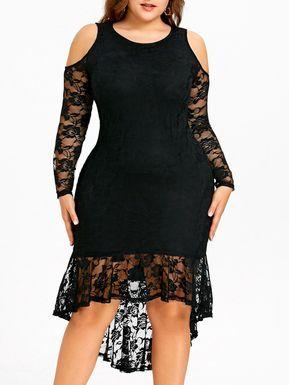 93de5a06028 Plus Size Cold Shoulder Lace Dip Hem Dress - BLACK 2XL