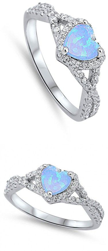 Infinity Heart Light Blue Simulated Opal Promise Ring Sterling Silver Band Size 6 (RNG17025-6)
