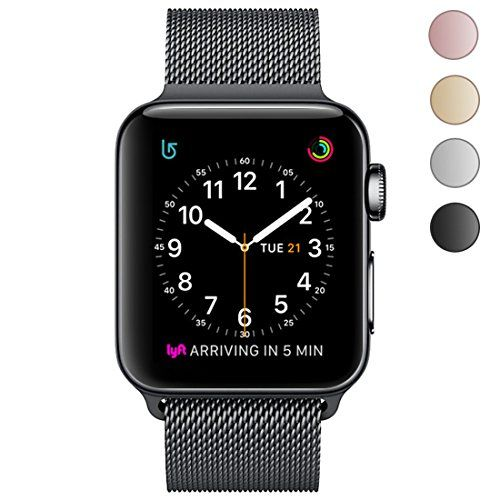 OROBAY Apple Watch Band 38mm 42mm Stainless Steel Milanese Mesh Loop Magnetic Closure Clasp Apple Watch Wristband Strap for Apple Watch Series 3 Series 2&Series 1 Sports Edition (42mm Black)
