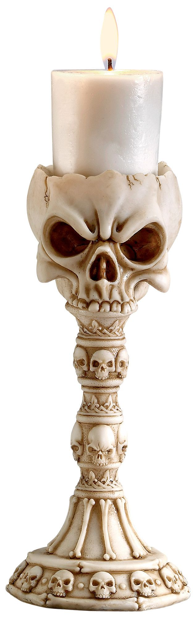 Features:  -Material: Designer resin.  -Set includes 2 candlesticks.  -Hand finished.  -Hand cast.  Finish: -Faux bone.  Candle Included: -Yes.  Holiday Theme: -Yes.  Holiday: -Halloween.  Style: -Con