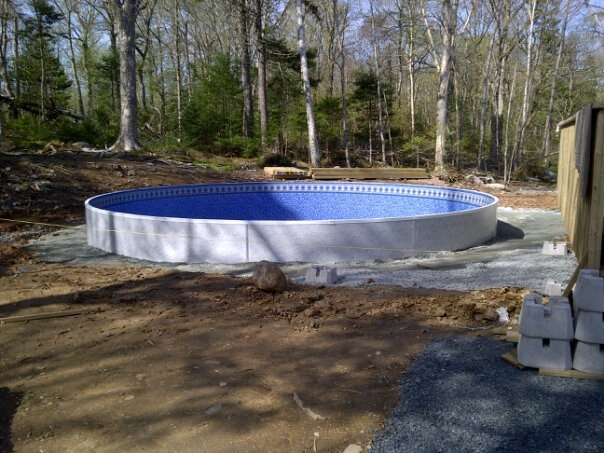 25 best semi inground pools images on pinterest semi for Semi inground pool