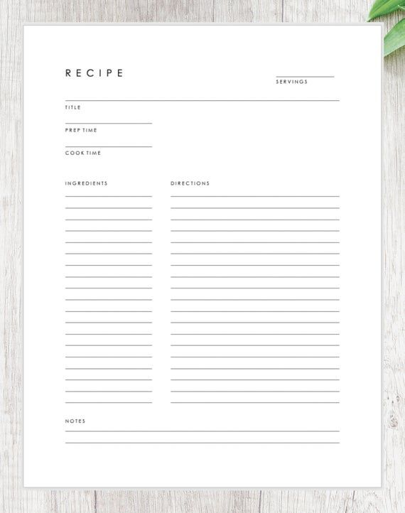 Minimalist Recipe Card Downloadable Recipe Template Printable Recipe Page Recipe Book Template Recipe Book Templates Recipe Book Diy Printable Recipe Page