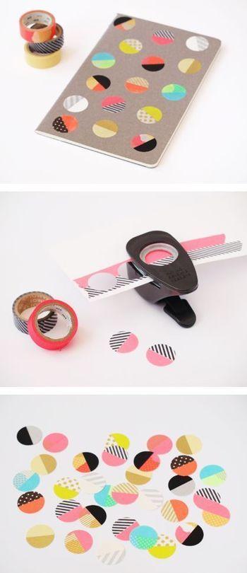 可愛いデザインのマスキングテープを紙に貼り、それを丸いパンチで穴開けしたもの。テープの組み合わせを変えればバリエーション豊かなデザインのノートが出来上がり!