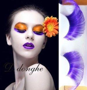 彩色假睫毛专卖彩色紫色魅惑夸张眼尾拉长加长舞台彩妆造型假睫毛