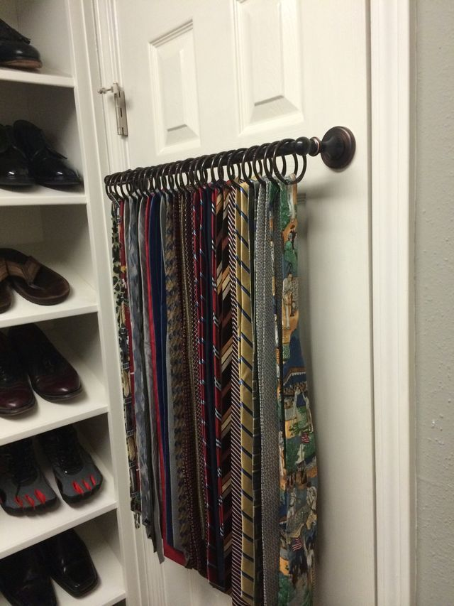 Best 25 tie storage ideas on pinterest tie rack organize ties tiescarf rack fashioned from a towel bar shower curtain rings solutioingenieria Images