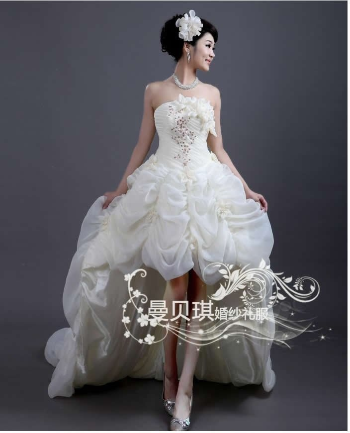 2012 Front short and long back pleated  tail bridal wedding dress free shipping