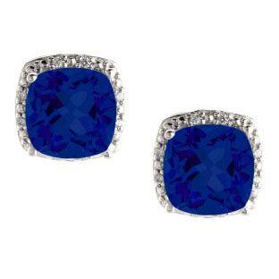 Cushion Cut Blue Sapphire September Gemstone Sterling Silver Diamond Earrings