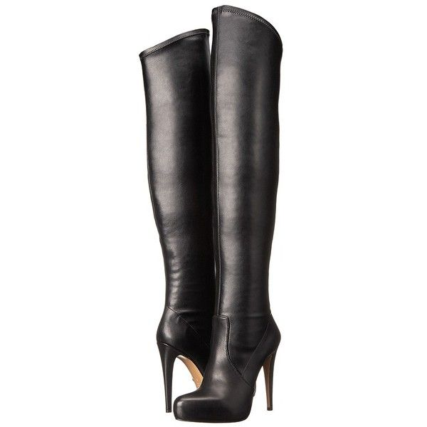 Massimo Matteo Thigh High Stiletto Women's Zip Boots ($259) ❤ liked on Polyvore featuring shoes, boots, knee-high boots, platform stilettos, pull on boots, high heel stilettos, slip on boots and platform boots
