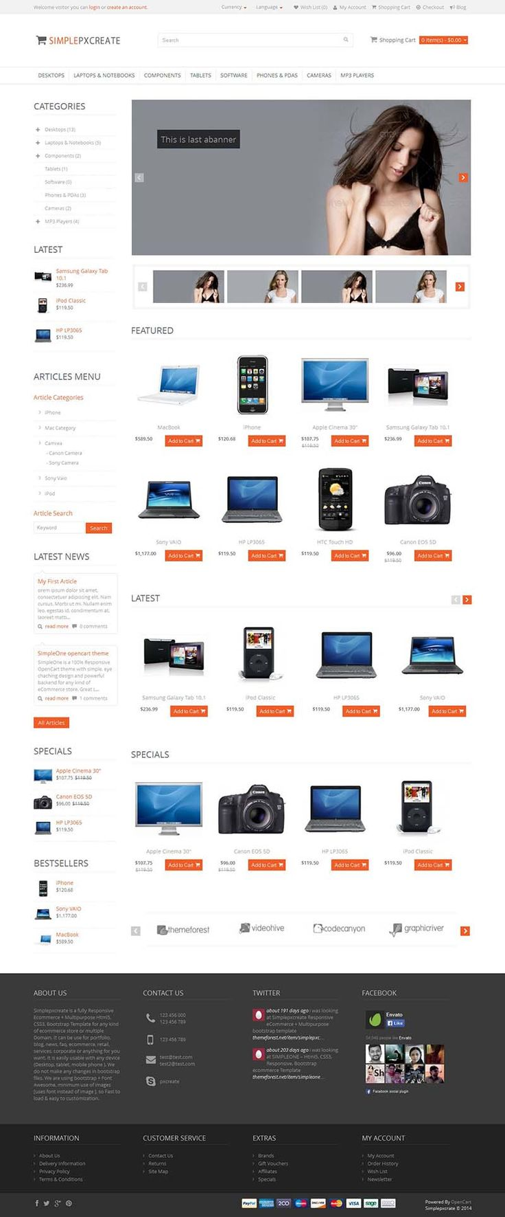 Simplepxcreate - Responsive #OpenCart Theme with 20 Colors