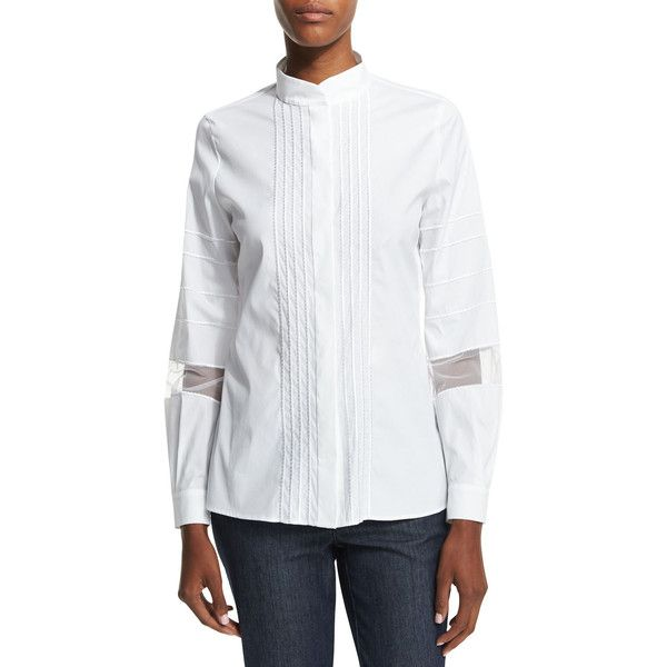 Escada Long-Sleeve Embroidered-Stripe Shirt (€245) ❤ liked on Polyvore featuring tops, white, embroidered shirts, slim fit shirts, white top, sheer white shirt and white long sleeve shirt