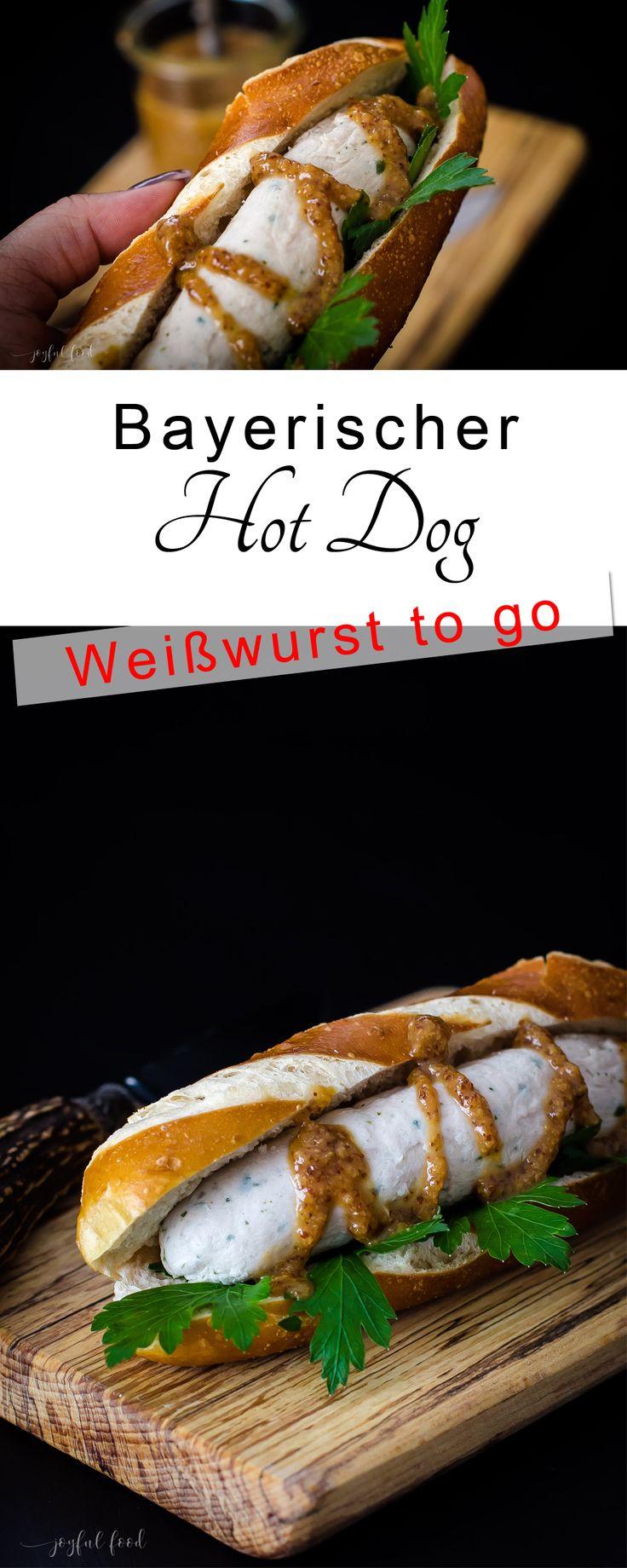 Ein Bayerischer Hot Dog. Die Weißwurst to go, quasi. Normalerweise wird die Wurst ja gemütlich mit einem schönen Weißbier und einer Breze gegessen. Aber wenn es mal schnell gehen muss, dann kann man sie so auch auf die Hand nehmen.