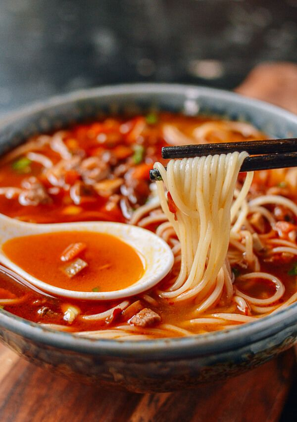 "Shanghai Hot Sauce Noodles, or Shanghai Lajiang Mian (上海辣酱面) was one of the many noodle soup dishes we enjoyed during our last visit to Shanghai. It is mostly known as ""la jiang mian"" or sometimes ""doubanjiang mian (豆瓣酱面) ,"" @thewoksoflife1"
