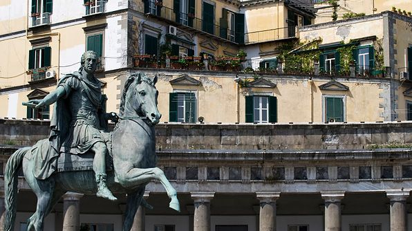 The statue of Ferdinando IV di Borbone in Piazza del Plebiscito, one of the largest piazzas in Naples.